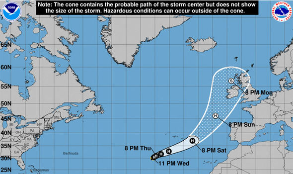 Hurricane Ophelia TERRIFYING path to UK: Huge tropical superstorm to smash Britain IN DAYS