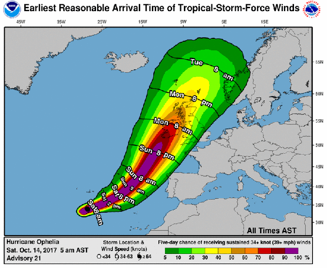 Hurricane Ophelia track: Where is Hurricane Ophelia now? When will it hit the UK & Ireland