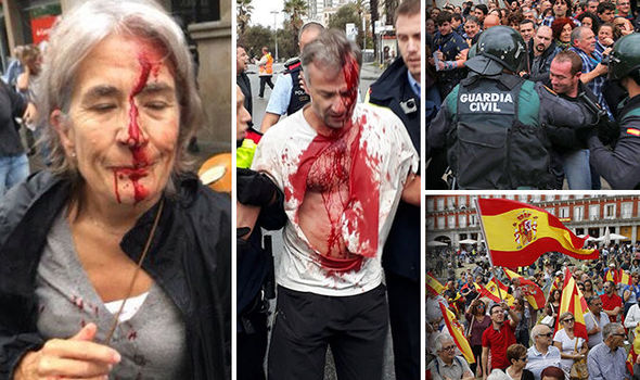 Catalan referendum: Police fire grenades and rubber bullets as voters bleed in streets