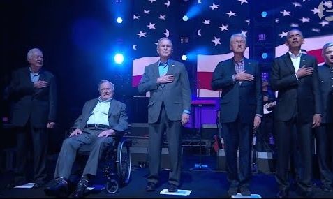 All five living former US presidents make rare appearance together