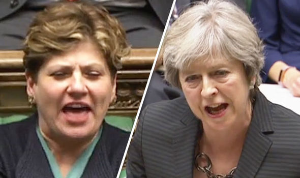 WATCH: Moment Emily Thornberry mouths at Theresa May during heated Brexit speech