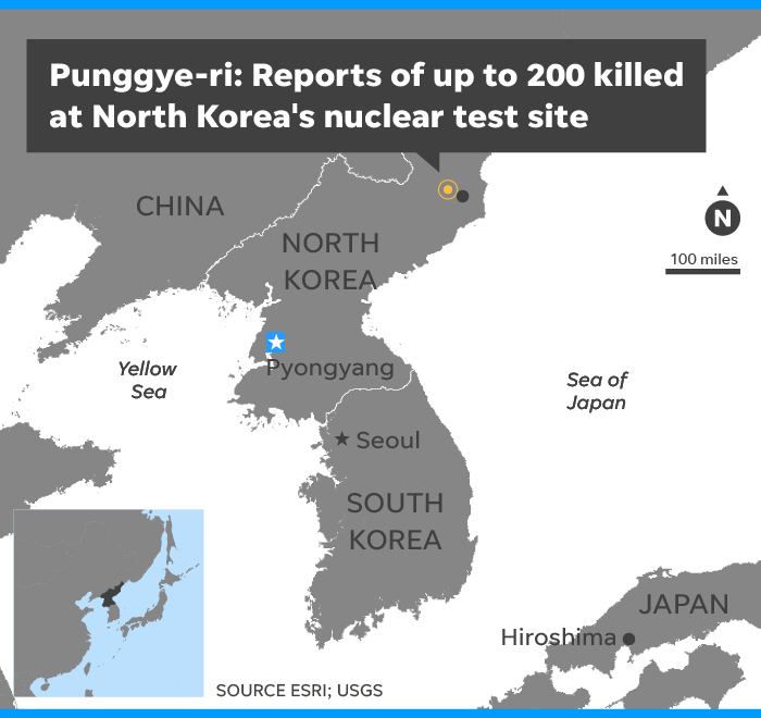 Up to 200 killed at North Korea's nuclear test site: report