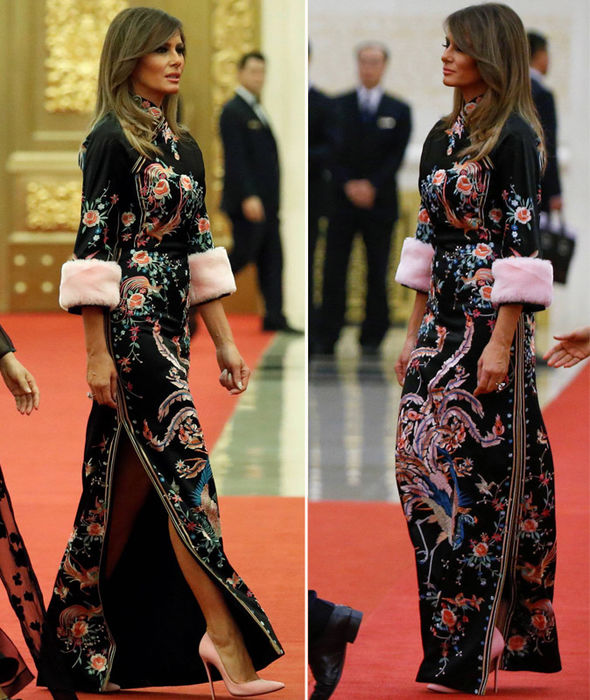 Melania Trump makes fashion FAIL in bizarre fur-trimmed dress with Donald Trump in Beijing
