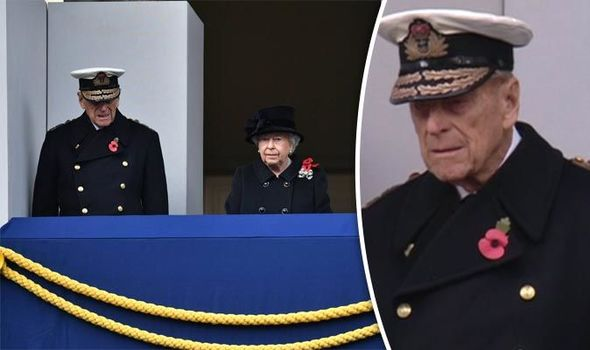 Prince Philip appears to have trouble standing at Remembrance Sunday ceremony