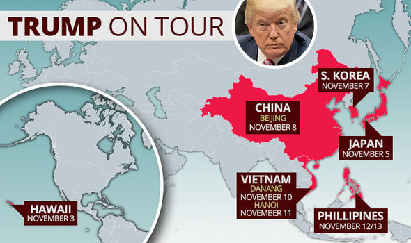 Donald Trump Asia tour MAP: Where is Donald Trump going in Asia?