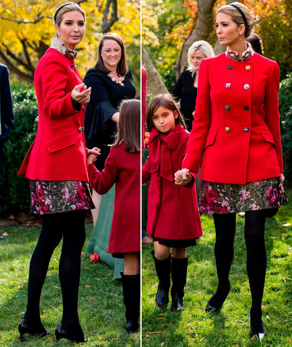 Ivanka Trump COPIES Melania in red outfit for Turkey ceremony in White House