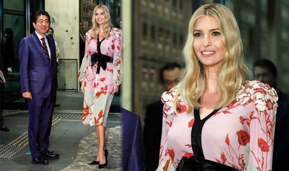 Ivanka Trump flashes hint of chest in Japanese-inspired dress for dinner with country's PM