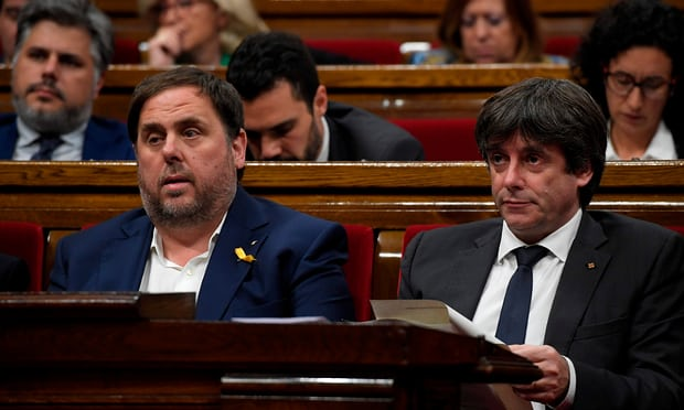 Former Catalan leaders appear before supreme court in Madrid
