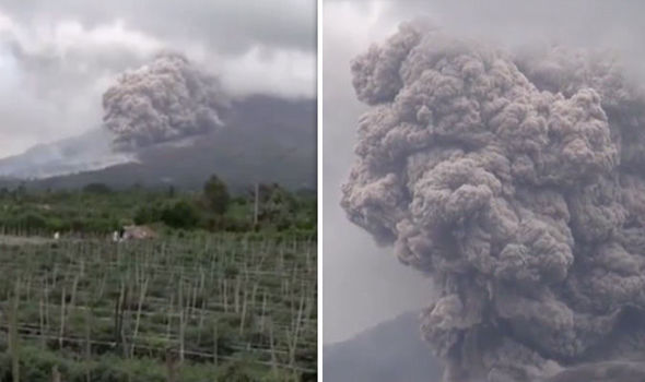 Volcano ERUPTION: Terrifying video shows Mount Sinabung spew HUGE ash cloud