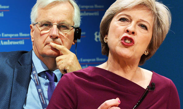 Up yours Barnier! Theresa May to IGNORE 'French bully' and do Brexit deal with Merkel