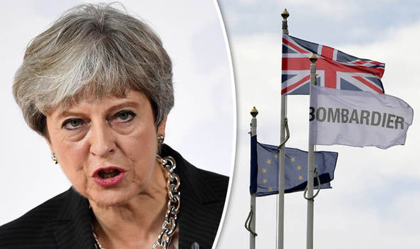 Theresa May threatens US TRADE WAR over Bombardier row