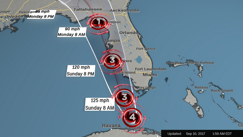 Irma upgraded to powerful Category 4 storm as it pounds the Florida Keys, and the rest of the state awaits the worst