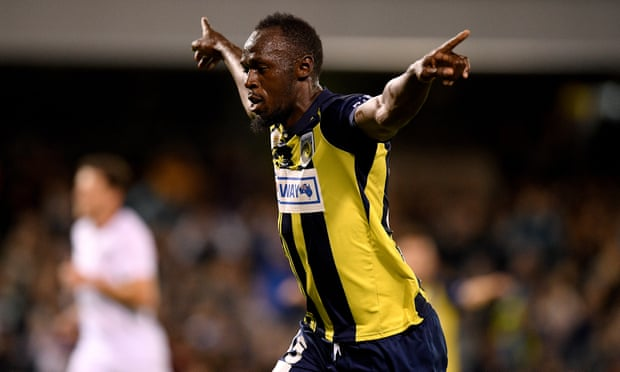 Usain Bolt scores first two goals in bid to become a professional footballer