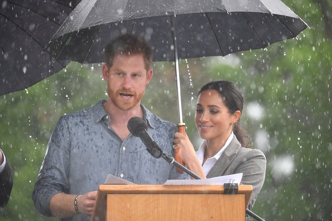 Rain Falls on Prince Harry and Meghan Markles Tour Moments After Visiting Drought-Stricken Farm