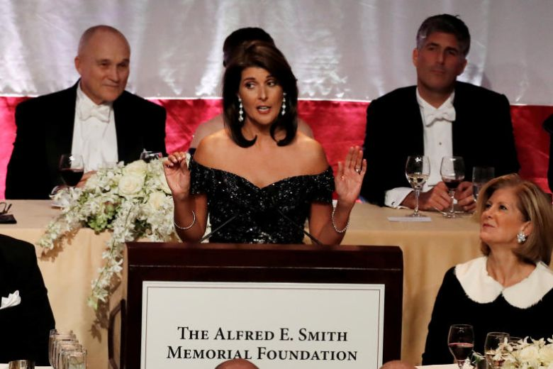 At charity dinner, Nikki Haley takes jabs at Trump and other political elites