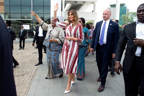 Melania Trump Arrives in Ghana Wearing Celine