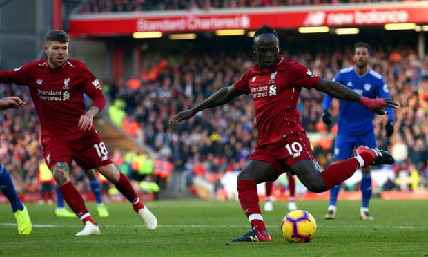 Sadio Mané scores twice as Liverpool ease past Cardiff on way to top