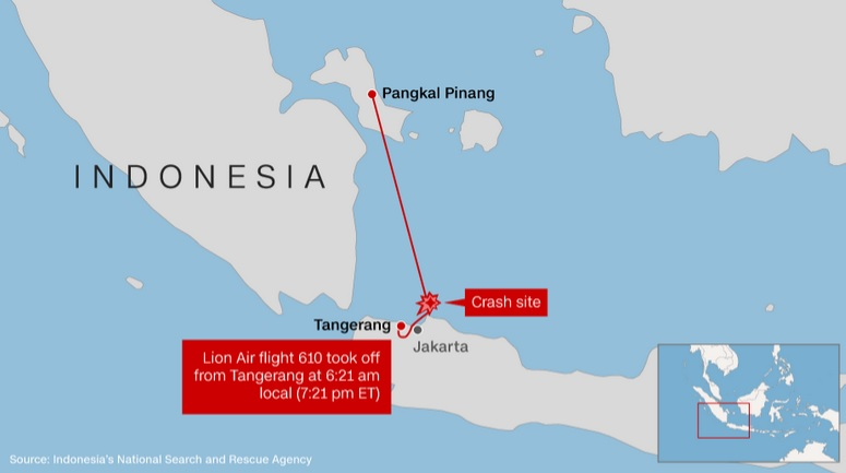 Lion Air plane crash: Debris found in sea off Jakarta, Indonesia