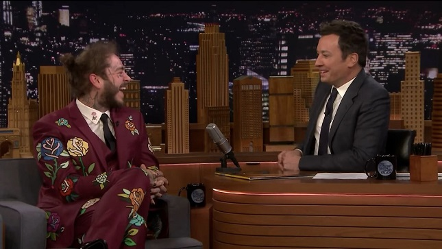 Post Malone Previews New Spiderman Song Sunflower on Fallon