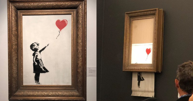Banksy artwork self-destructs after selling at auction for £1m – video