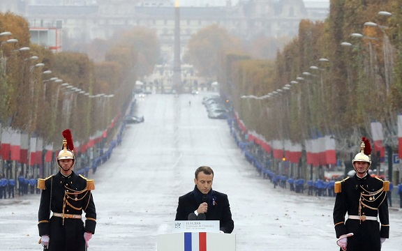 Emmanuel Macron warns of dangers of nationalism in Armistice Day speech