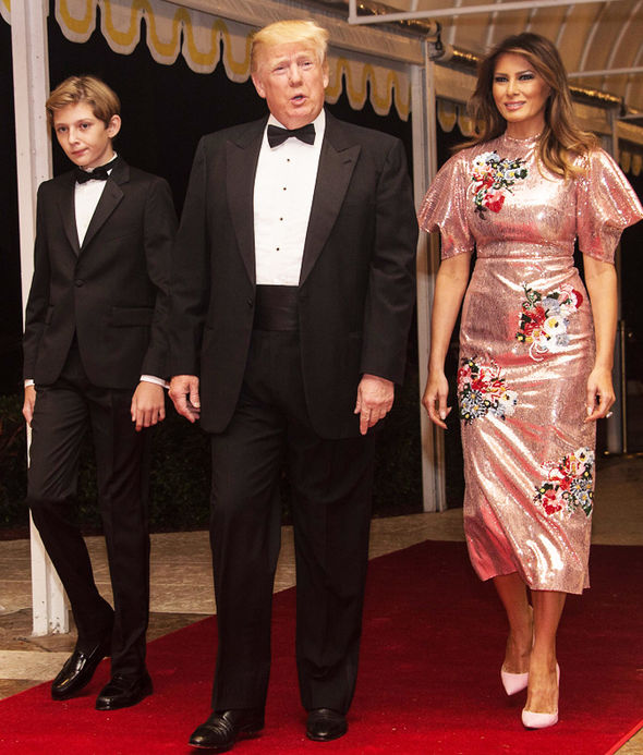 Donald Trump's wife Melania stuns in a gown worth £3,000 at New Year's Eve party