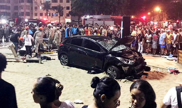 Copacabana beach HORROR: Baby killed and 14 people injured as car ploughs into pedestrians