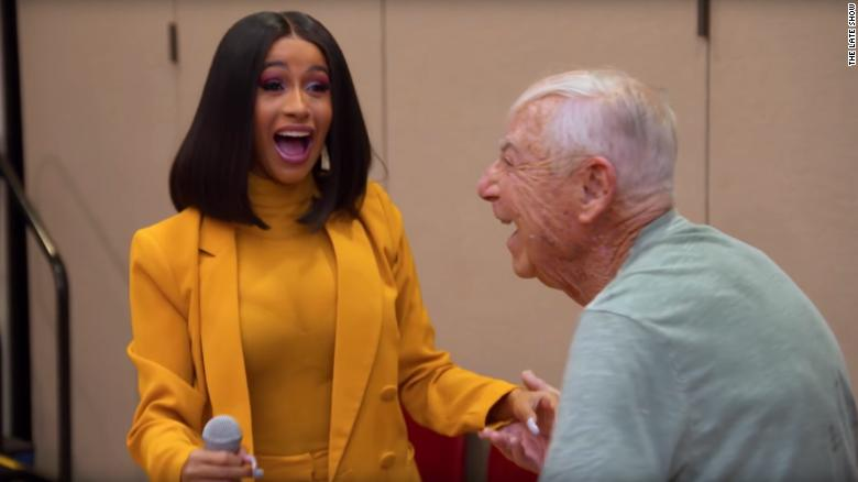 Cardi B performs I Like It at senior center and gets asked out on a date