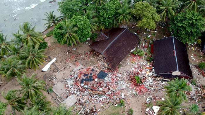 Drone footage shows damage caused by Indonesian tsunami – video