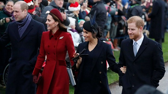 Meghan Markle, Prince Harry join Kate Middleton, Prince William for Christmas Day service amid feud rumors