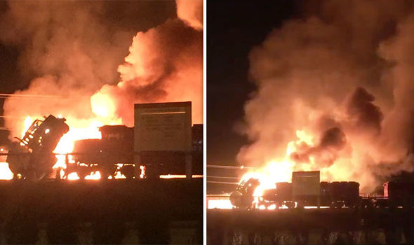BREAKING: Fireball engulfs TRAIN in deadly flames after horror crash with ethanol truck