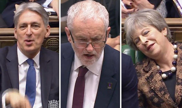 WATCH: Theresa May FALLS ASLEEP as PM and Hammond mock Corbyns tiresome NHS argument