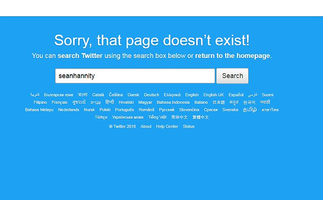 Sean Hannity's Twitter account is deactivated