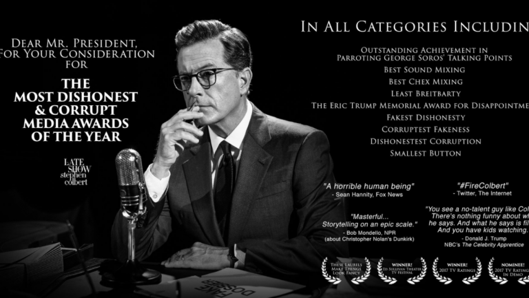 Stephen Colbert Takes Out Billboard Campaigning for Trumps Dishonest Media Awards