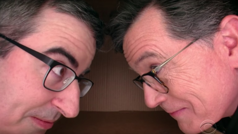Watch Stephen Colbert Ask John Oliver Intimate Questions in His Personal Space Box
