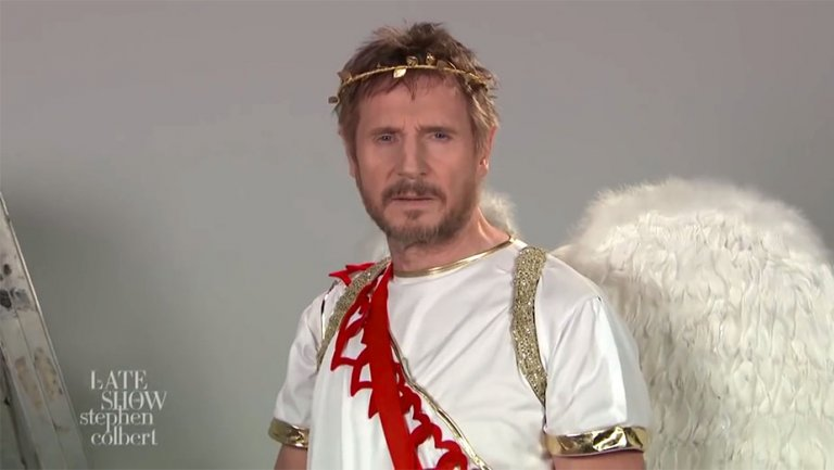 Liam Neeson Auditions to Be Cupid in Late Show Sketch