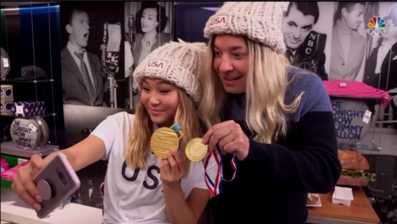 Watch Chloe Kim and Jimmy Fallon Photo-Bomb Olympics Fans on Shortened Tonight Show