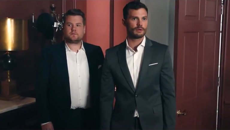 "Watch James Corden Show 'Fifty Shades' Star Jamie Dornan His ""Playroom"""