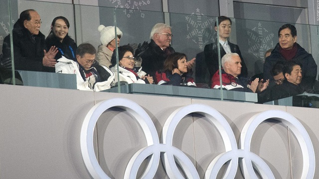 Pence and Kim Jong Uns sister sat meters from each other at the winter games opening ceremony