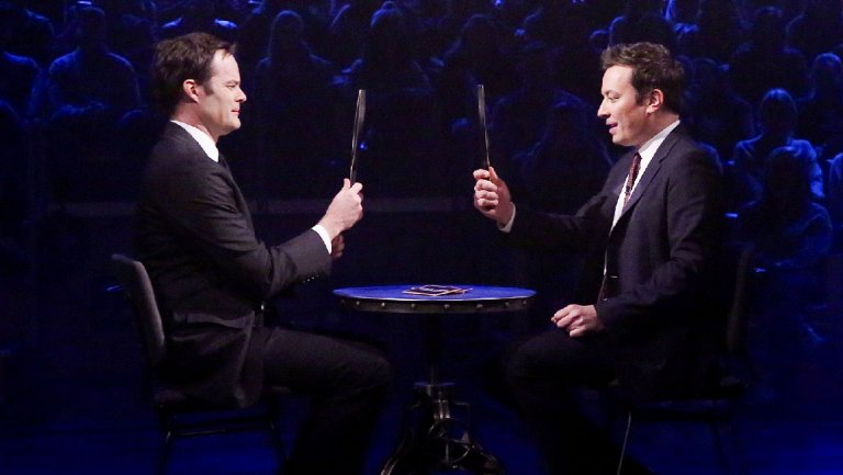 Bill Hader and Jimmy Fallon Try Not to Crack Up During Funny-Face Game