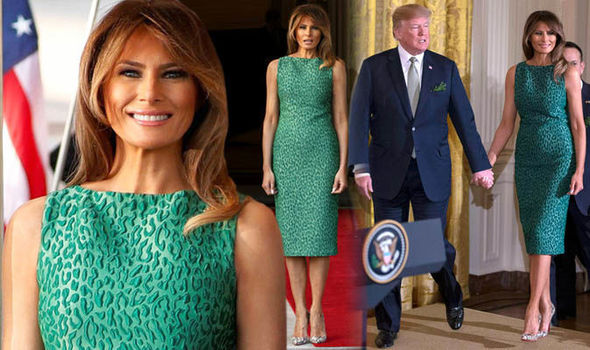Melania Trump wears emerald green for St Patricks Day celebration