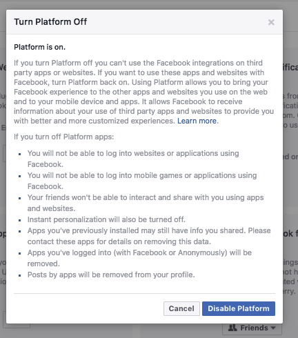 How to opt out of Facebooks Platform data sharing