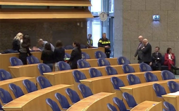 BREAKING: Dutch parliament horror as man plummets from balcony during MP's speech