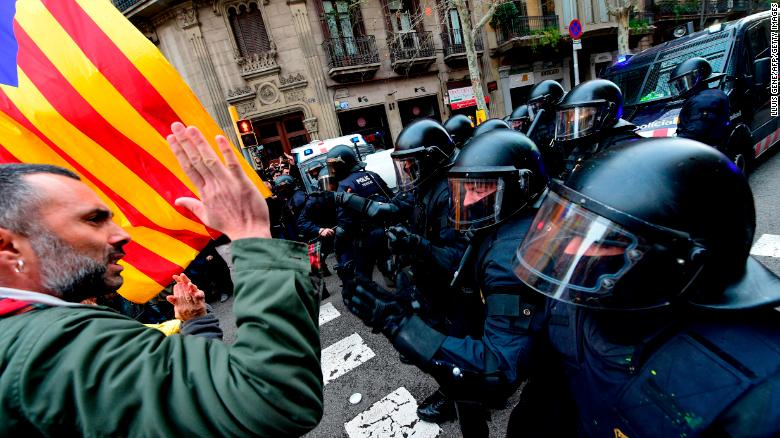 Protests break out after Catalonia ex-leader is detained