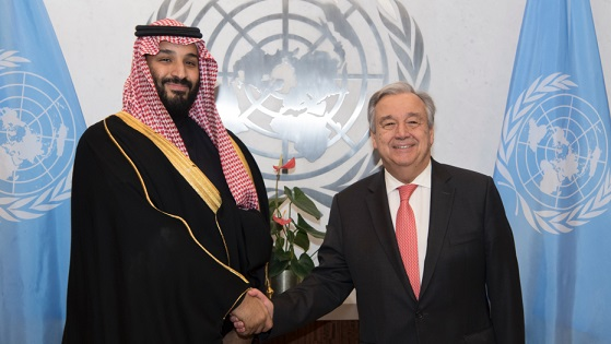 Saudi crown prince and UN leader meet to talk about Yemen