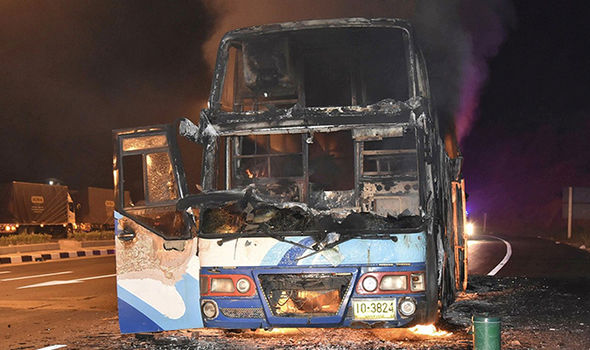 TRAGEDY as 21 people DIE in blazing bus INFERNO in Thailand