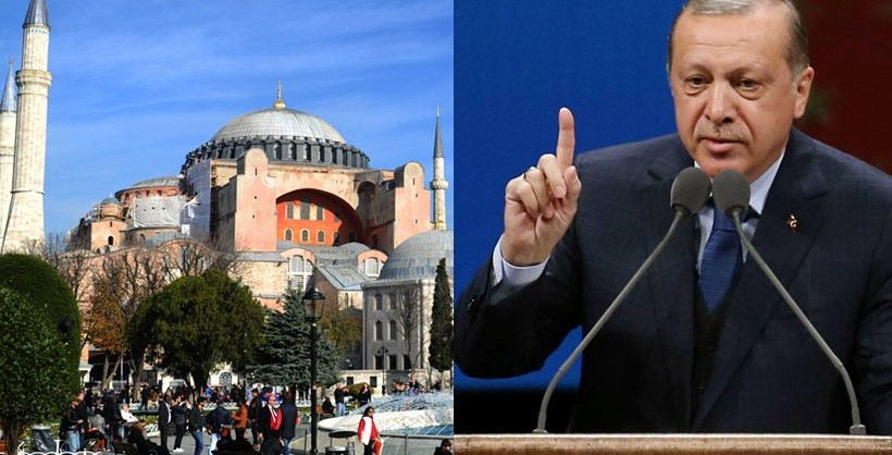 Turkish president recites Muslim prayer at the Hagia Sophia