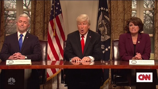 SNL: Alec Baldwins Donald Trump Rambles on Gun Control, Wakanda in Cold Open