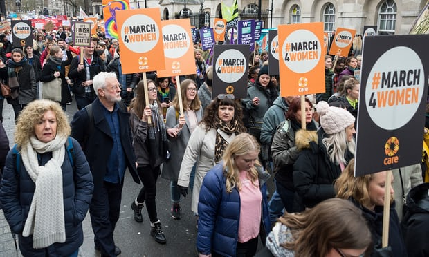 Women march in London to call for gender equality