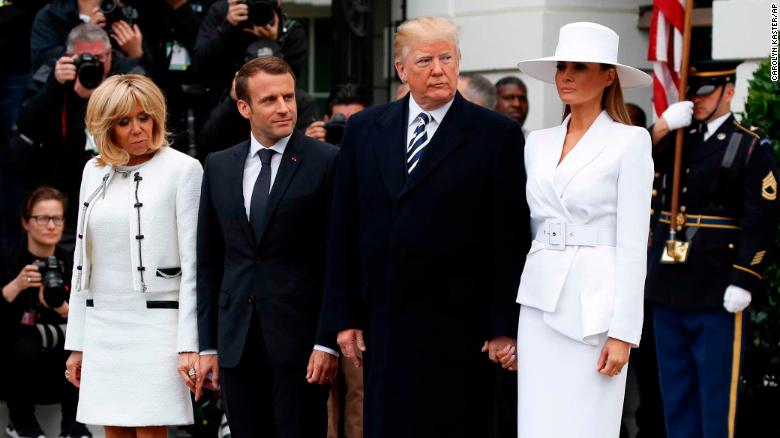 Trump welcomes Macron to White House